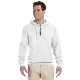 Men's Big and Tall 50/50 Nublend Fleece Quarter-Zip White Pullover Hood