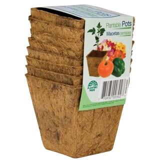 Planters Pride RSQ03000 3-inch Square Fiber Grow Coconut Coir Plantable Pots 8-count