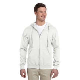 Men's Big and Tall 50/50 Nublend Fleece White Full-Zip Hood