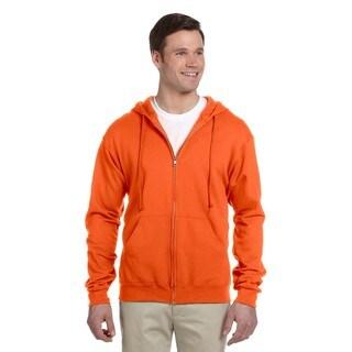 Men's Big and Tall 50/50 Nublend Fleece Safety Orange Full-Zip Hood