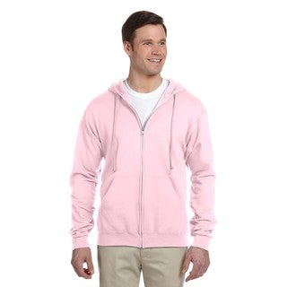 Men's Big and Tall 50/50 Nublend Fleece Classic Pink Full-Zip Hood (2 options available)