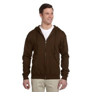Men's Big and Tall 50/50 Nublend Fleece Chocolate Full-Zip Hood