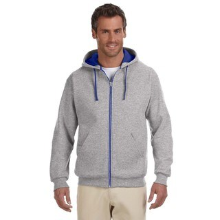 Men's Big and Tall 50/50 Nublend Contrast Oxford/Royal Full-Zip Hood