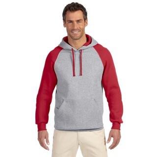 Men's Big and Tall 50/50 Nublend Colorblock Raglan Oxford/True Red Pullover Hood