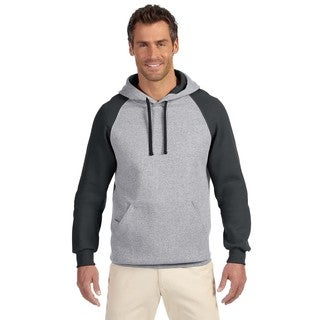 Men's Big and Tall 50/50 Nublend Colorblock Raglan Oxford/Black Pullover Hood