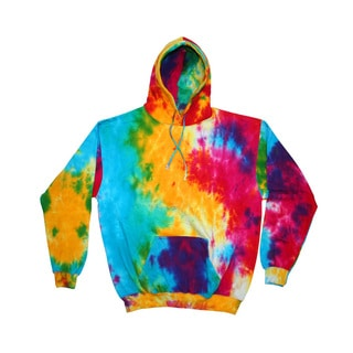Men's Big and Tall Tie-Dyed Multi Rainbow Pullover Hood