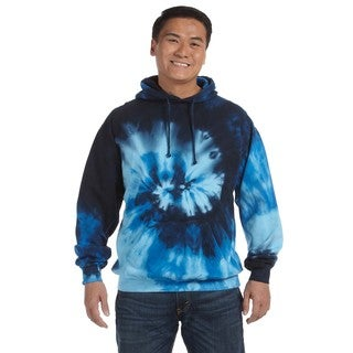 Men's Big and Tall Tie-Dyed Blue Ocean Pullover Hood