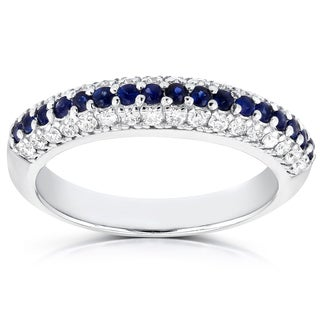 Annello by Kobelli 14k White Gold 3/8ct TDW Diamond and Sapphire Ring (G-H, SI1-SI2)