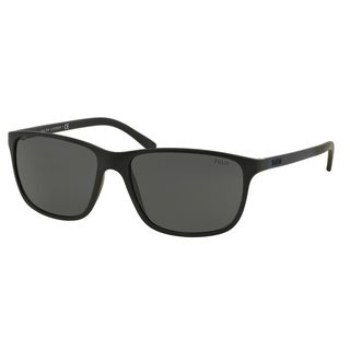 Polo by Ralph Lauren Men's PH4092 Black Plastic Square Sunglasses
