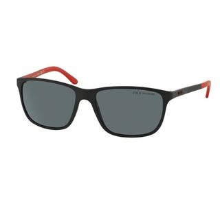 Polo by Ralph Lauren Men's PH4092 Black Plastic Square Polarized Sunglasses