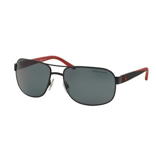 Polo by Ralph Lauren Men's PH3093 Black Metal Square Polarized Sunglasses