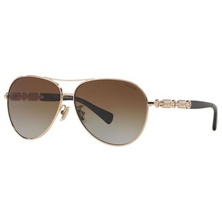 Coach Women's HC7048 L107 9209T5 Metal Pilot Polarized Sunglasses