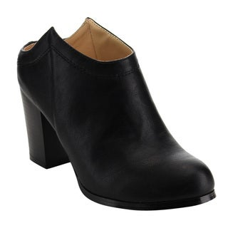 Chase & Chloe ED02 Women's Stitched High-stacked Chunky Heel Ankle Booties