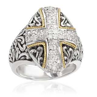 Avanti Sterling Silver and 18K Yellow Gold 1/4 CT TDW Diamond Oval Cross Shape Ring (I-J, I1-I2)