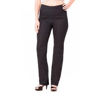 Bluberry Women's Julia Black Rinse Denim Plus-size Straight Leg Pants