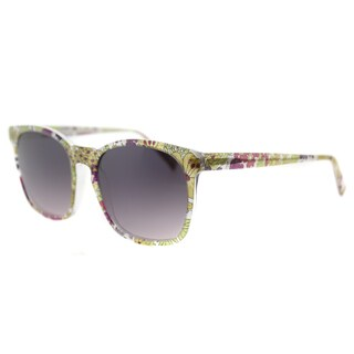 Lafont LF Soho Women's 7046 Purple Floral Plastic Square Grey Gradient Lens Sunglasses
