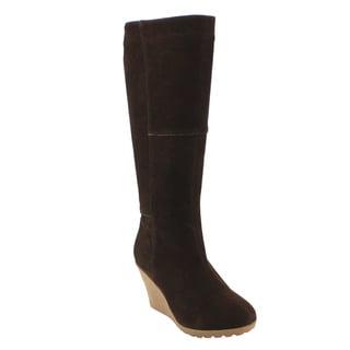 Olivia Miller FD46 Women's Knee-high Stitched Platform Wedge Boots