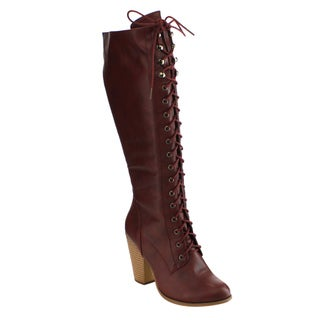 Olivia Miller FD48 Women's Lace-up Knee-high Stacked Block-heel Boots