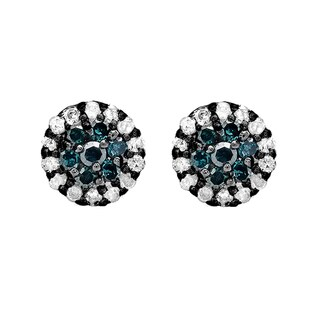 Elora 10k Black Gold 1/3ct TW Blue and White Diamond Cluster Flower Stud Earrings (I-J)