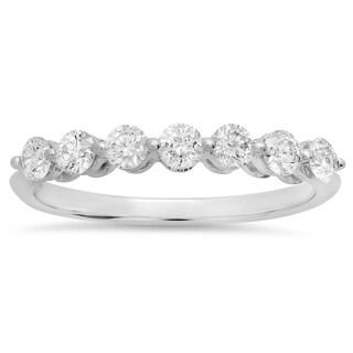 Elora 14k White Gold 1/2ct TDW Round White Diamond 7-stone Bridal Wedding Band Anniversary Ring (H-I, I1-I