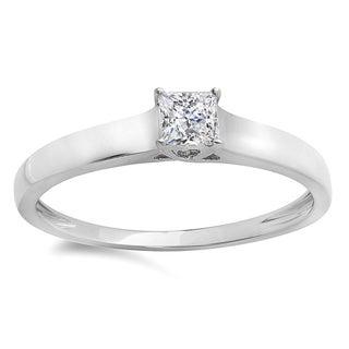 Elora 14k White Gold 1/4ct TDW Princess-cut Diamond Lucida Style Solitaire Bridal Engagement Ring (H-I, I1