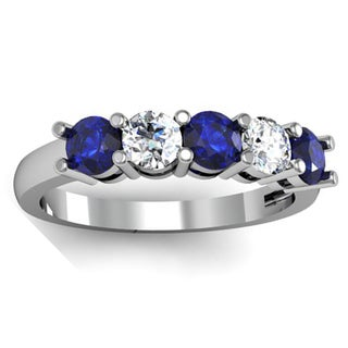 Elora 14k Gold 1ct TW Round Blue Sapphire and White Diamond 5-stone Bridal Wedding Band Anniversary Ring (