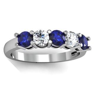 14k Gold 1ct TW Round Blue Sapphire and White Diamond 5-stone Bridal Wedding Band Anniversary Ring (H-I, I1-I2)