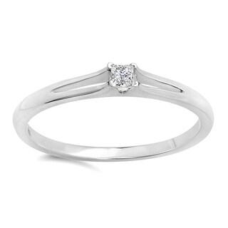 Elora 10k White Gold 1/10ct TDW Princess-cut Diamond Split Shank Solitaire Bridal Promise Ring (I-J, I2-I3