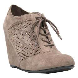 Women's Fergalicious Tess Wedge Bootie Taupe Synthetic Suede