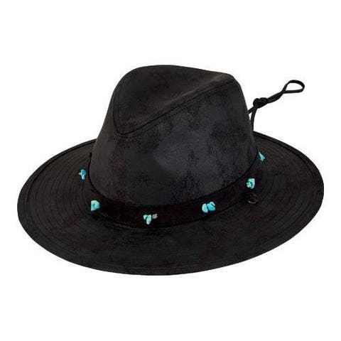 aa8ac57ecf99ac Women's San Diego Hat Company Fedora with Turquoise Beads CTH8032 Black