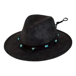 Women's San Diego Hat Company Fedora with Turquoise Beads CTH8032 Black