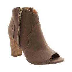 Women's XOXO Barron Peep-Toe Ankle Boot Taupe Faux Suede