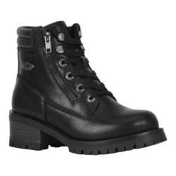 Women's Lugz Flirt HI Zip Combat Boot Black Perma Hide