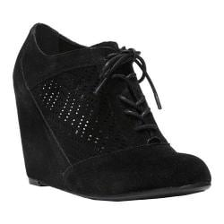 Women's Fergalicious Tess Wedge Bootie Black Synthetic Suede