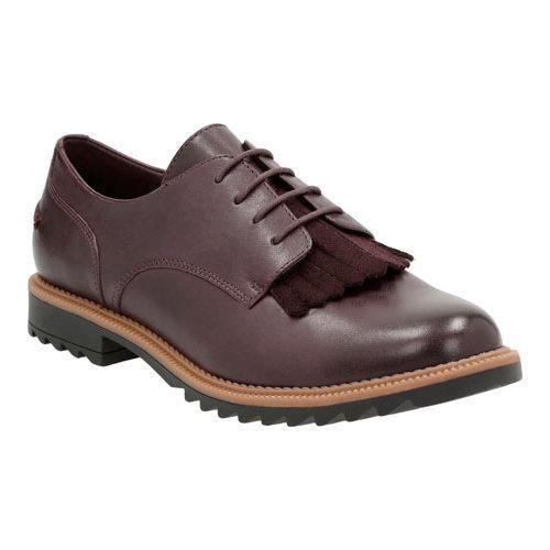 Women's Clarks Griffin Mabel Oxford Aubergine Leather