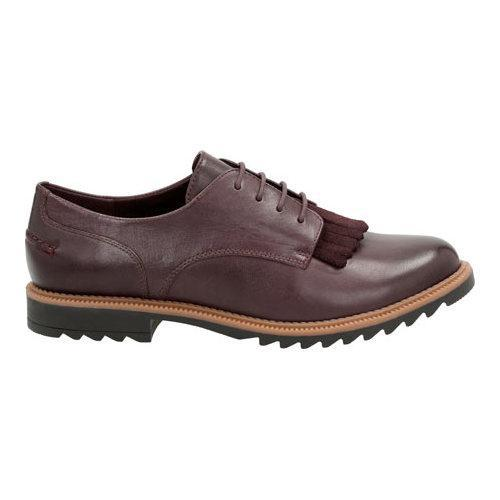 Women's Clarks Griffin Mabel Oxford Aubergine Leather - Thumbnail 1