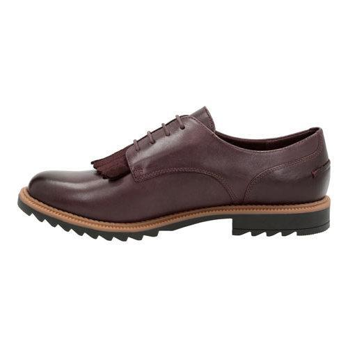 Women's Clarks Griffin Mabel Oxford Aubergine Leather - Thumbnail 2