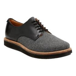 Women's Clarks Glick Darby Lace Up Shoe Grey Textile/Black Cow Full Grain Leather
