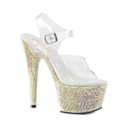 Women's Pleaser Bejeweled 708MR Ankle Strap Sandal Clear PVC/Pearl Hologram Rhinestones/Tiles