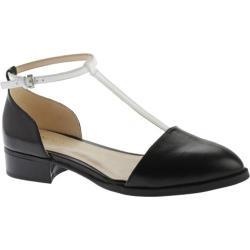 Women's Nine West Nanda T-Strap Flat Black/White Leather