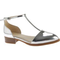 Women's Nine West Nanda T-Strap Flat Silver Metallic