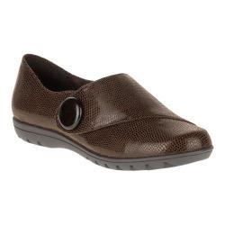 Women's Soft Style Veda Monk Strap Shoe Dark Brown Lizard