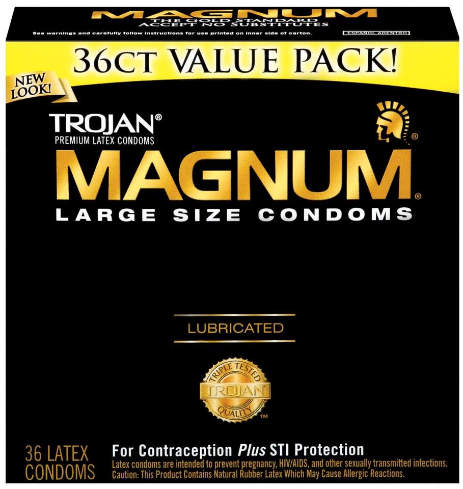 Trojan Magnum Latex Lubricated Condoms (Pack of 36)