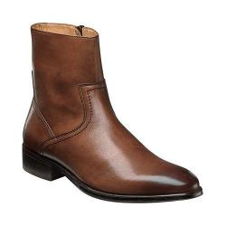 Men's Florsheim Capital Plain Toe Zip Boot Cognac Smooth Leather