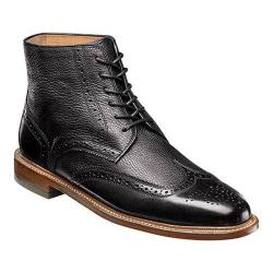 Men's Florsheim Heritage Wingtip Boot Black Smooth/Milled