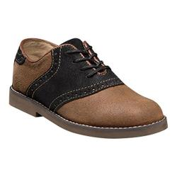 Boys' Florsheim Kennett Saddle Oxford Jr. II Cognac Suede/Black/Dark Brown Sole