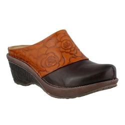 Women's L'Artiste by Spring Step Bande Clog Brown Multi Leather
