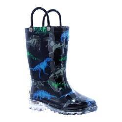 Boys' Western Chief Dinosaur Friends Lighted Rain Boot Black