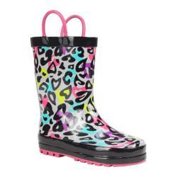 Girls' Western Chief Groovy Leopard Rain Boot Black