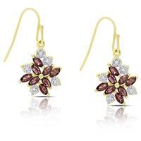 Dolce Giavonna Gold Over Sterling Silver Garnet Flower Design Dangle Earring